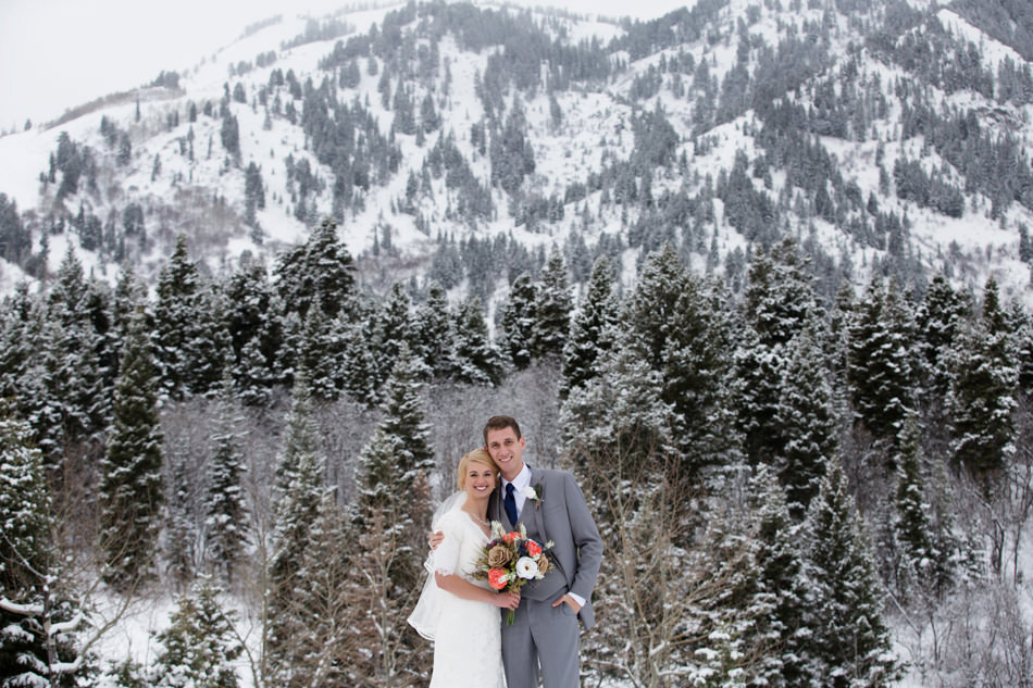 bride and groom at snowbasin