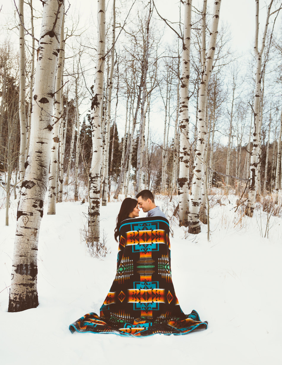 pendleton woolen mills engagement photos blanket