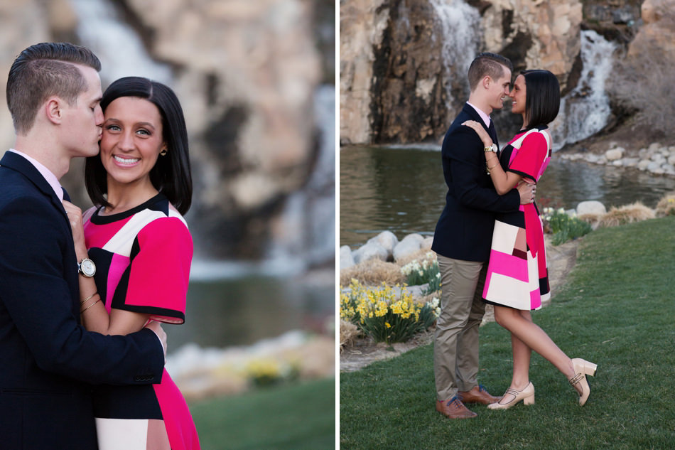 thanksgiving point gardens waterfall engagement